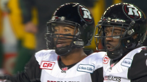 Henry Burris threw two first quarter touchdowns for the Ottawa REDBLACKS in the 103rd Grey Cup (TSN/November 29, 2015)