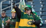 Edmonton Eskimos fans are seen prior to the start of the 103rd Grey Cup between the Edmonton Eskimos and the Ottawa RedBlacks in Winnipeg, Man., on Sunday, Nov. 29, 2015. (Ryan Remiorz / THE CANADIAN PRESS)