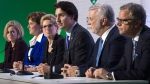 Prime Minister Justin Trudeau speaks during a news conference with Albeta Premier Rachel Notley, B.C. Premier Christy Clark, Ontario Premier Kathleen Wynne , Quebec Premier Philippe Couillard and Saskatchewan Premier Brad Wall at the United Nations climate change summit Monday, Nov. 30, 2015 in Le Bourget, France. (Adrian Wyld / THE CANADIAN PRESS)