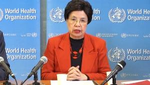WHO Director-General Margaret Chan declares the Zika virus to be an international emergency, in Geneva, Switzerland, Monday, Feb. 1, 2016.