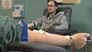 Blood donors at clinic today in Ottawa.