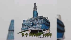 The Canadian Museum For Human Rights is shown in this undated sketch by Justin Trudeau. A watercoulour sketch drawn by Justin Trudeau shortly before he became prime minister is up for auction. Trudeau drew the image of the Canadian Museum For Human Rights in Winnipeg last spring. (THE CANADIAN PRESS/HO - Friends of the Canadian Museum For Human Rights, Justin Trudeau)
