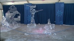 An ice sculpture lies broken at Confederation Park during Winterlude in Ottawa, Feb. 5, 2016