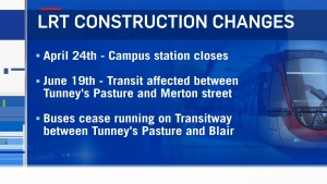 CTV Ottawa: LRT disruptions ahead