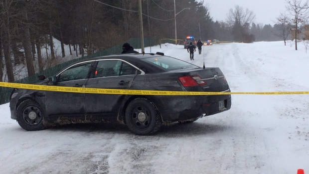 OPP have cordoned off a section of road in Almonte, Ontario after an early morning shooting. Credit: Alison Sandor/CFRA