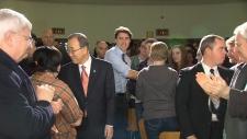 Ban Ki-Moon, Justin Trudeau arrive at Glebe.