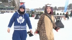Skaters wear some interesting onesies to keep warm on the Rideau Canal, Feb. 12, 2016