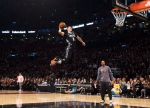 Minnesota Timberwolves' Zach LaVine slam dunks the ball during the NBA all-star skills competition in Toronto on Saturday, February 13, 2016. LaVine won the event. (Mark Blinch/THE CANADIAN PRESS)