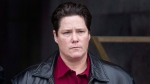 Former Montreal Police officer Stephanie Trudeau, Agent 728, leaves the Montreal Courthouse Thursday, February 25, 2016 where she was found guilty of assault. (Graham Hughes / THE CANADIAN PRESS)