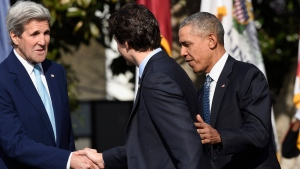 President Barack Obama introduces Justin Trudeau to Secretary of State John Kerry on the South Lawn of White House, in Washington, on Thursday, March 10, 2016. (AP Photo/Susan Walsh)