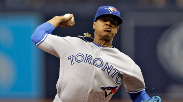 Toronto Blue Jays' Marcus Stroman pitches to the Tampa Bay Rays during the first inning of a baseball game Sunday, April 3, 2016, in St. Petersburg, Fla.  (AP Photo/Chris O'Meara)