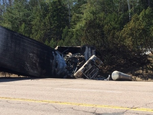 A burnt transport truck rests in a ditch off highway 17 after a fatal crash