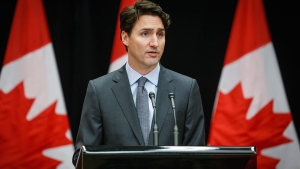 Prime Minister Justin Trudeau makes a statement to the media about the death of John Ridsdel, in Kananaskis, Alta., Monday, April 25, 2016. (Jeff McIntosh / THE CANADIAN PRESS)
