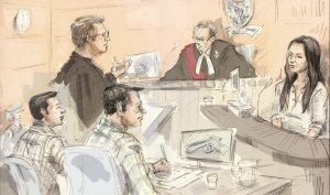 Mark Smich, (left to right) Crown Anthony Leach, Dellen Millard, Justice Andrew Goodman and Millard's former girlfriend Christine Noudga appear in court at the Tim Bosma murder trial in Hamilton, Ont., Wednesday, April 27, 2016. (THE CANADIAN PRESS/Alexandra Newbould)