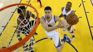 Golden State Warriors' Klay Thompson drives to the basket during the first half of Game 2 of a second-round NBA basketball playoff series against the Portland Trail Blazers in Oakland, Calif. on Tuesday, May 3, 2016. (AP / Ezra Shaw)