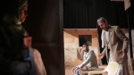 In this Thursday, April 28, 2016 photo, Palestinian actress Yasmin Katba, left, waits backstage to perform a Gaza version of Shakespeare's 'Romeo and Juliet' play on the stage of a cultural center in Gaza City. (AP Photo / Khalil Hamra)