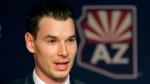 Newly appointed Arizona Coyotes general manager John Chayka speaks at a news conference announcing his promotion, Thursday, May 5, 2016, in Glendale, Ariz. Chayka is the youngest GM in NHL history. (AP Photo / Matt York)