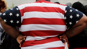 An overweight person is seen in New York on May 8, 2014. (AP / Mark Lennihan)