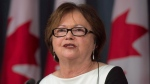 Public Services and Procurement Minister Judy Foote speaks at a press conference last May.