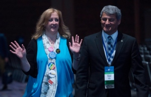 Lisa Raitt arrives to speak to the media at Conservative Party of Canada convention in Vancouver, Friday, May 27, 2016. (THE CANADIAN PRESS/Jonathan Hayward)