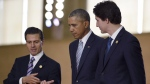 U.S. President Barack Obama walks with Mexico's President Enrique Pena Nieto and Canada's Prime Minister Justin Trudeau at the Asia-Pacific Economic Cooperation summit in Manila, Philippines, on Nov. 19, 2015. (THE CANADIAN PRESS/AP,Susan Walsh)
