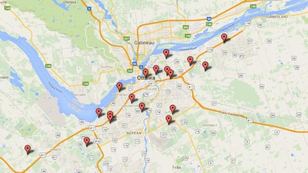 On the Map: Ottawa Shootings 2016