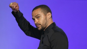 Jesse Williams accepts the humanitarian award at the BET Awards at the Microsoft Theater in Los Angeles on Sunday, June 26, 2016. (Matt Sayles / Invision)