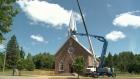 Church steeple re-erected