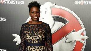 "In this Tuesday, April 12, 2016, file photo, Leslie Jones, a cast member in the film ""Ghostbusters,"" poses backstage during the Sony Pictures Entertainment presentation at CinemaCon 2016, at Caesars Palace in Las Vegas. (Photo by Chris Pizzello/Invision/AP)"