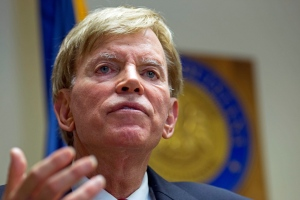 In this July 22, 2016, photo, former Ku Klux Klan leader David Duke talks to the media at the Louisiana Secretary of State's office in Baton Rouge, La. (AP Photo/Max Becherer)