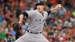 New York Yankees relief pitcher Andrew Miller delivers in the ninth inning of a baseball game against the Houston Astros, Monday, July 25, 2016, in Houston. (AP / Eric Christian Smith)