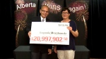 Bogumila Mroczkowski claims her $20.9-million lottery prize in Edmonton on Tuesday, July 26, 2016.