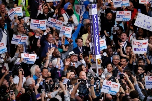 The delegation from California casts their votes for President of the United States during the second day of the Democratic National Convention in Philadelphia , Tuesday, July 26, 2016. (AP / J. Scott Applewhite)