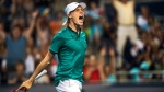 Denis Shapovalov celebrates at the Rogers Cup in Toronto on July 25, 2016. (Aaron Vincent Elkaim / THE CANADIAN PRESS)