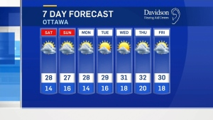Friday midday weather forecast