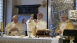 Pope Francis, center, celebrates a mass in the chapel of the archdiocese, in Krakow, Poland, Friday, July 29, 2016. (L'Osservatore Romano)