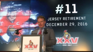 Ottawa Senators will retire Daniel Alfredsson's number 11 on Dec. 29, 2016 before a game against the Detroit Red Wings.