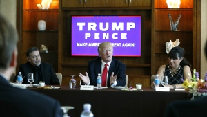 Republican presidential candidate Donald Trump leads a Hispanic leaders and small business owners roundtable in Las Vegas on Friday, Aug. 26, 2016. (AP / Gerald Herbert)