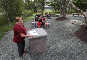 Teacher Joanne Ward and her grade 3/4 students take part in the outdoor classroom of Hazelwood Elementary in St. John's, N.L. on Thursday, Sept. 8, 2016. (Paul Daly / THE CANADIAN PRESS)