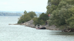 Fire crews were called to the shore near Lower Duck Island off the George Etienne Cartier Parkway after a car was found under water in the Ottawa River on Sunday, Sept. 18, 2016.