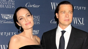 Angelina Jolie Pitt, left, and Brad Pitt attend the 2015 Innovator Awards hosted by WSJ. Magazine on Wednesday, Nov. 4, 2015, in New York. (Dave Allocca/Starpix via AP)