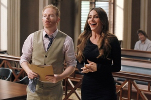 This publicity image released by ABC shows Jesse Tyler Ferguson, left, and Sofia Vergara in a scene from 'Modern Family.' (AP / ABC, Peter 'Hopper' Stone)