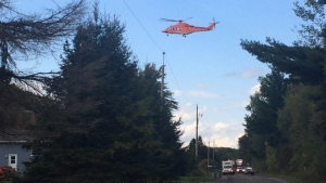 An Ornge Air Ambulance transports a patient to hospital from Clarence Creek, On. Sep. 27, 2016