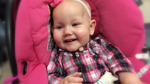 Everley, eight-months, was born with a rare disorder called Congenital Central Hypoventilation Syndrome, affecting only 1,000 kids world-wide.  Evereley's brain doesn't stimulate her to breathe when she falls asleep.