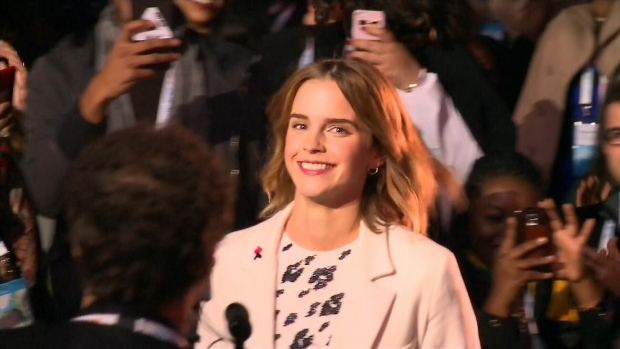 Actress Emma Watson arrives at the opening ceremonies of the One Young World Summit in Ottawa, Sep. 28, 2016