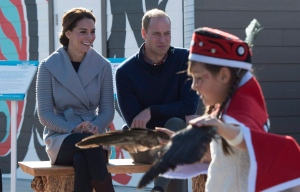The Duke and Duchess of Cambridge watch young dancers perform in Carcross, Yk, Wednesday, Sept 28, 2016. (THE CANADIAN PRESS/Jonathan Hayward)