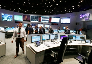 Picture shows view into the control room at the European Space Agency in Darmstadt, Germany, Friday, Sept. 30, 2016. (AP Photo/Michael Probst)