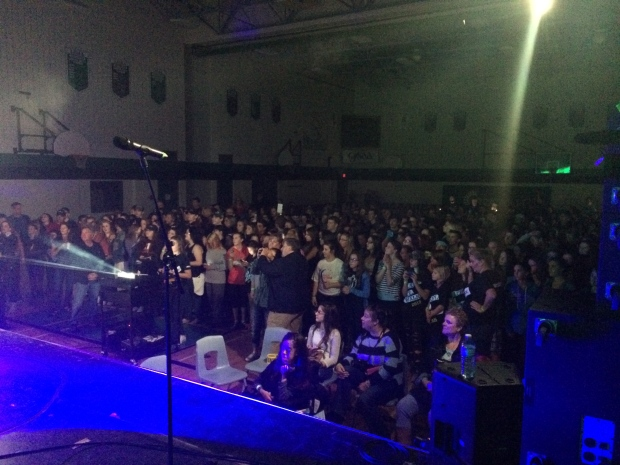 Hedley performs at St John Catholic High School in Perth