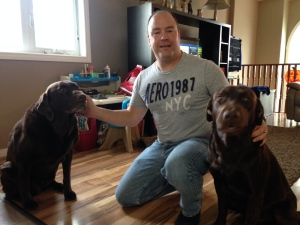 Windsor police Const. Sean Patterson with his two dogs in Windsor, Ont., on Friday, Oct. 21, 2016. (Chris Campbell / CTV Windsor)