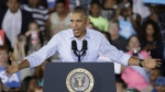 President Barack Obama speaks at a rally Sunday, Oct. 23, 2016, in North Las Vegas, Nev. (AP / John Locher)